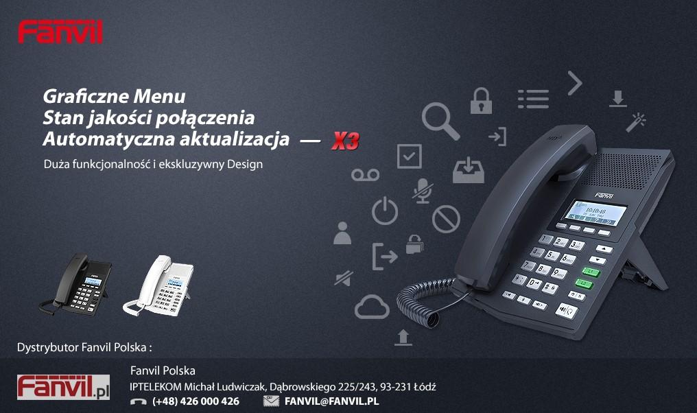 Telefon VoIP Fanvil X3 - nowe menu, nowe kolory.