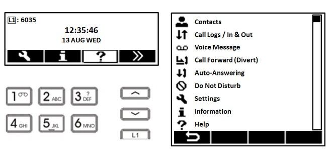Telefon VoIP Fanvil X3 graficzne menu.